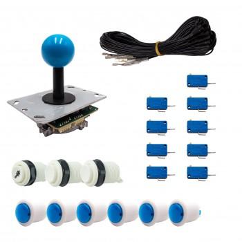Kit Arcade 1 Joueur Boutons Bicolores Blancs Joystick PCB Tige Noire Boule Câble Gpio