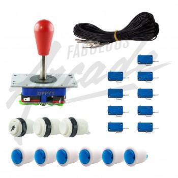 Kit Arcade 1 Joueur Boutons Bicolores Blancs Joystick Zippyy Tige Longue Poire Câble Gpio