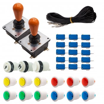 Kit Arcade 2 Joueurs Lumineux Boutons Bicolores Blancs Joysticks Coréens Câble Gpio