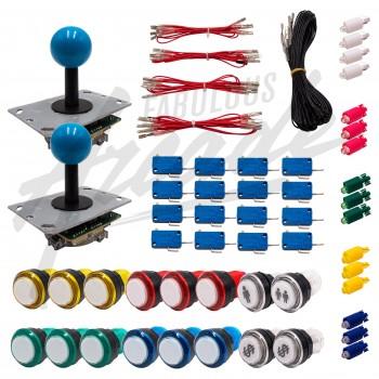 Kit Arcade 2 Joueurs Lumineux Boutons Coeurs Blancs Joysticks PCB Tiges Noires Boules Câble Gpio