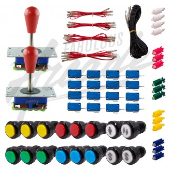 Kit Arcade 2 Joueurs Lumineux Boutons Noirs 2 Joysticks Zippyy Tiges Longues Poires Câble Gpio