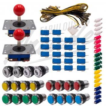 Kit Arcade 2 Joueurs Lumineux Boutons Chromés Joysticks Zippyy Tiges Courtes Boules Nu