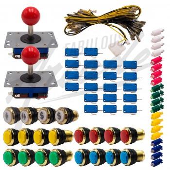 Kit Arcade 2 Joueurs Lumineux Boutons Dorés Joysticks Zippyy Tiges Courtes Boules Nu