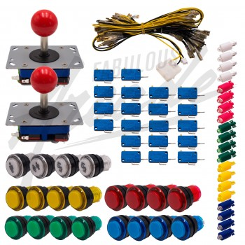 Kit Arcade 2 Joueurs Lumineux Boutons Tranparents Joysticks Zippyy Tiges Courtes Boules Nu