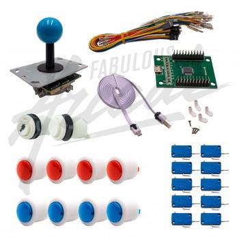 Kit Arcade 1 Joueur Boutons Bicolores Blancs Joystick PCB Tige Noire Boule Carte XinMoTek