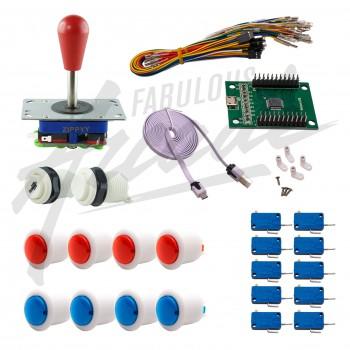 Kit Arcade 1 Joueur Boutons Bicolores Blancs Joystick Zippyy Tige Longue Poire Carte XinMoTek
