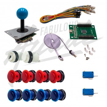 Kit Arcade 1 Joueur Boutons Génériques Joystick PCB Tige Noire Boule Carte XinMoTek