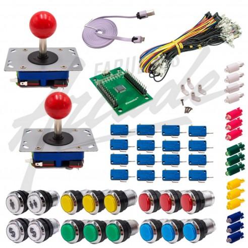 Kit Arcade 2 Joueurs Lumineux Boutons Chromés Joysticks Zippyy Tige Courte Boule Carte XinMoTek