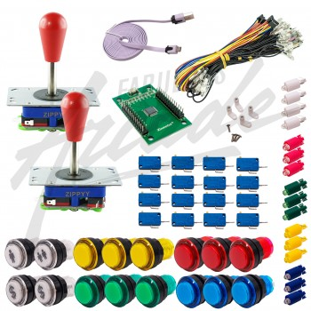 Kit Arcade 2 Joueurs Lumineux Boutons Transparents Joysticks Zippyy Tige Longue Poire Carte XinMoTek