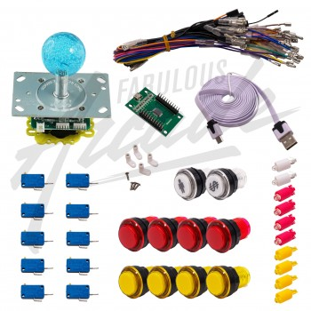 Kit Arcade 1 Joueur Lumineux Boutons Transparents Joystick Lumineux Boule Carte XinMoTek
