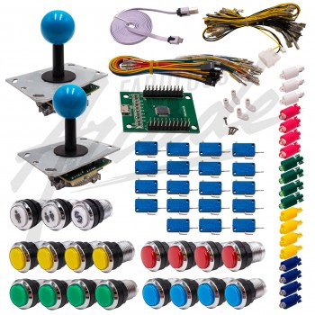 Kit Arcade 2 Joueurs Lumineux Boutons Chromés Joysticks PCB Tiges Noires Boules Carte XinMoTek