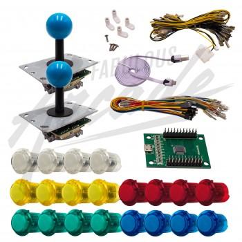 Kit Arcade 2 Joueurs Lumineux Boutons Clipsables Transparents Lumineux Joysticks PCB Tiges Noires Boules Carte XinMoTek