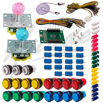 Kit Arcade 2 Joueurs Lumineux Boutons Tranparents Joysticks Lumineux Boules Carte XinMoTek