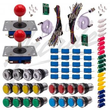 Kit Arcade 2 x 1 Joueur Lumineux Boutons Chromés Joysticks Zippyy Tiges Courtes Boules Carte XinMoTek