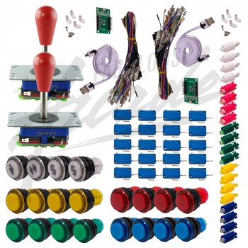 Kit Arcade 2 x 1 Joueur Lumineux Boutons Transparents Joysticks Zippyy Tiges Longues Poires Carte XinMoTek